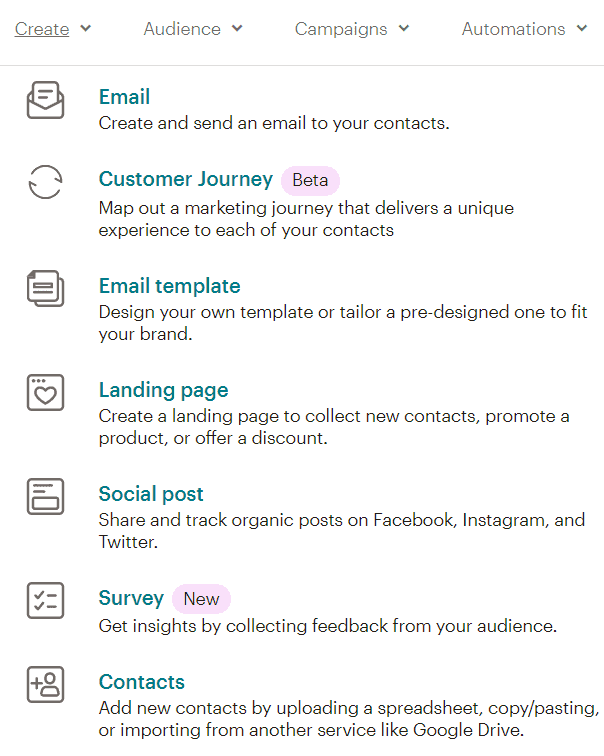 features available including landing pages